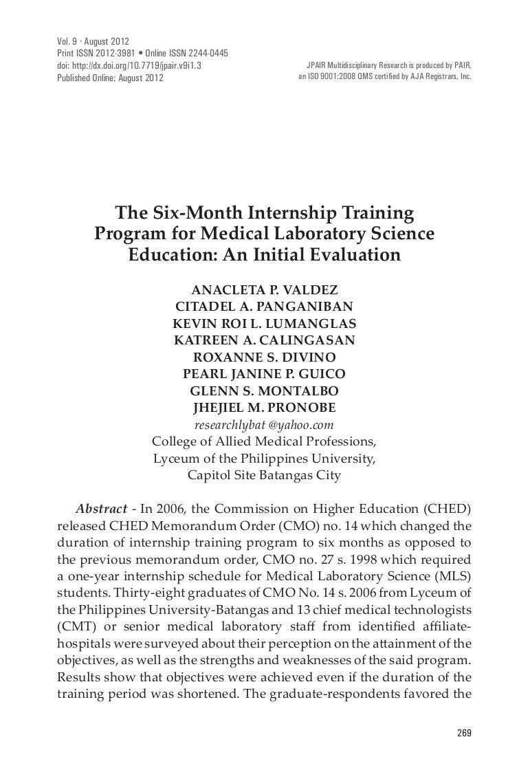 The Six Month Internship Training Program For Medical Laboratory Sci