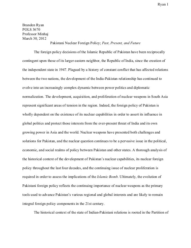 English Essay Topics For Students Nuclear Weapons Essay I Nuclear Foreign Policy Past Present And  Sample Essay Thesis Statement also What Is The Thesis Statement In The Essay  Essay  Tirevifontanacountryinncom Examples Of Thesis Statements For English Essays