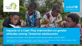 Impacts of a Cash Plus Intervention on Gender Attitudes Among Tanzanian Adolescents