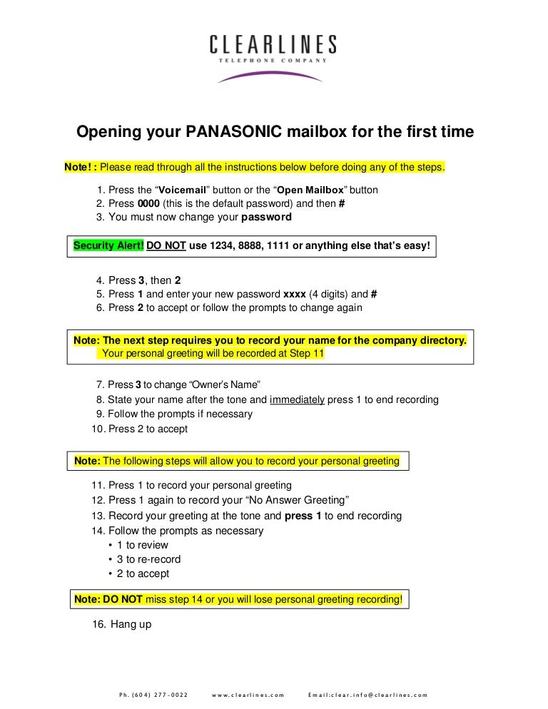 Panasonic initializing and opening your mailbox for the first time m4hsunfo