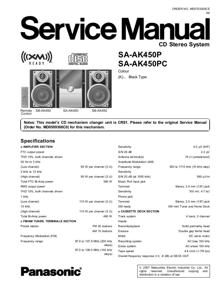 panasonic sa ak450p sa ak450pc manual de servicio rh slideshare net Panasonic Cordless Phone KX-TG155SK User Manual Manual Panasonic Radio
