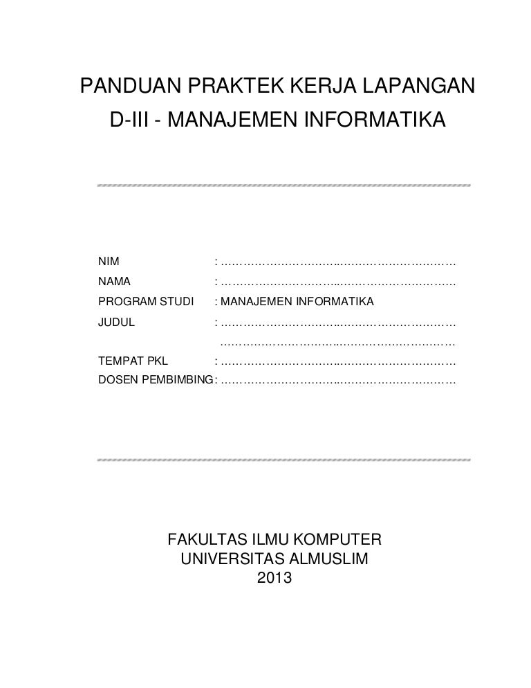 Panduan Pkl Manajemen Informatika Tahun 2013