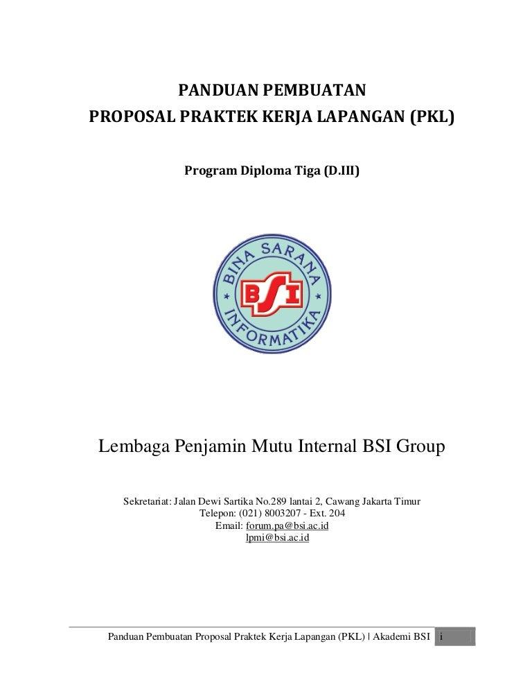 Panduan Proposal Pkl Bsi 2015
