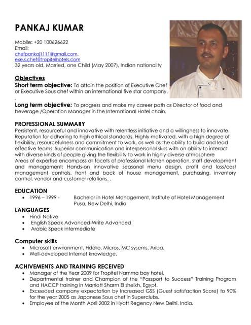 Chef Resume | Resume CV Cover Letter