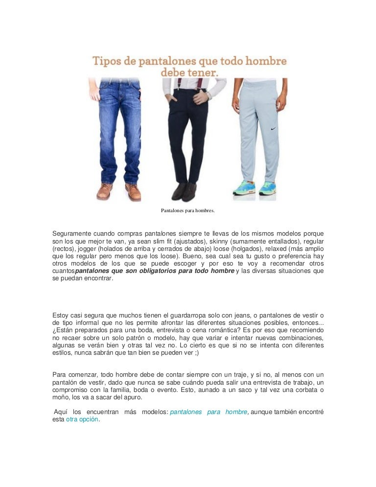 Pantalones Basicos Para Hombres