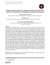 Linking Professional Business Education with Job Performance and career progression: A stakeholders satisfaction perspective