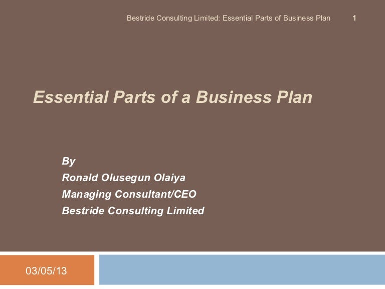Paper  Essential Elements Of Business Plan  Ronald Olusegun Olaiya