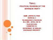 Paper 9: Political Reading of The Birthday Party