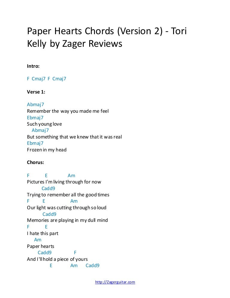 Paper Hearts Chords (Version 2) - Tori Kelly by Zager Reviews