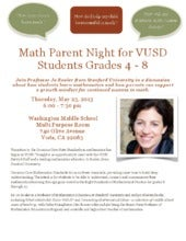 VUSD Math and Dr. Boaler Parent Night 5.23.13