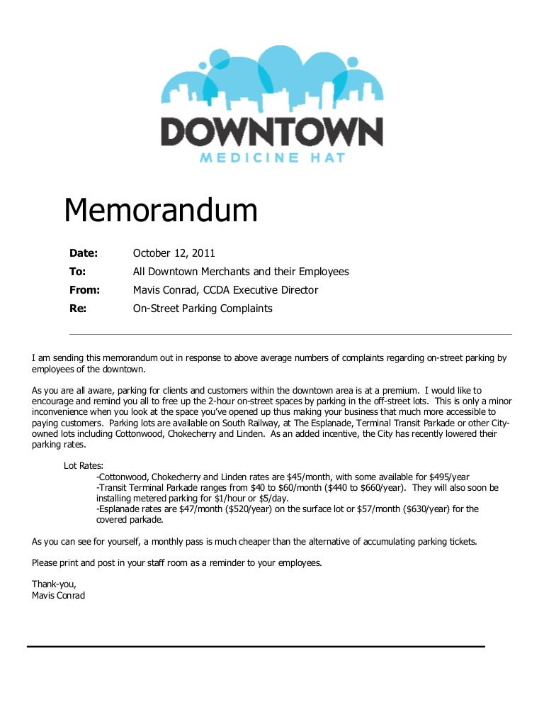 Parking Memorandum Sample Policy Memo Policy Memo Writing Sample