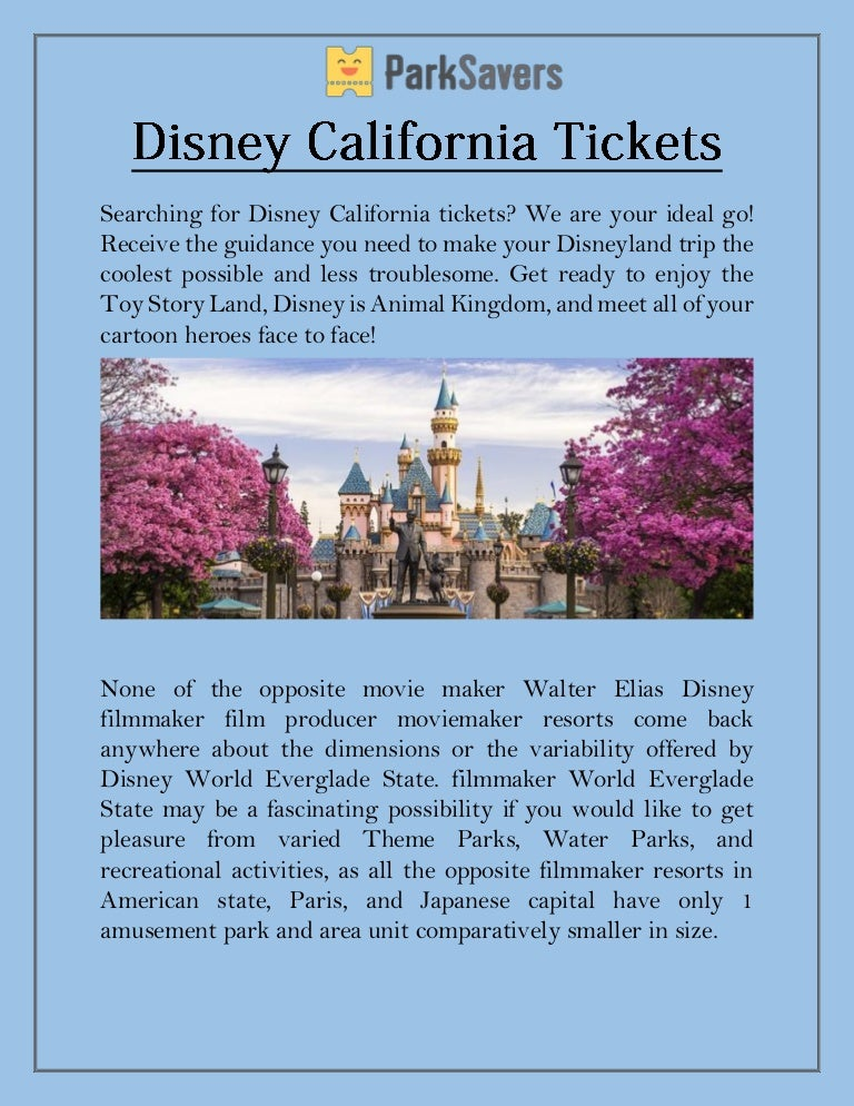 Disney California Tickets - Park Savers