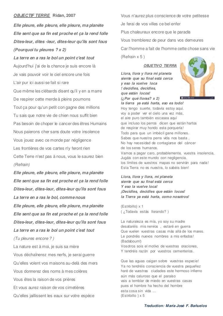 Paroles objectif-terre-francais-espagnol