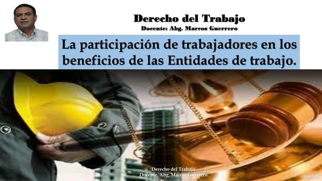 Participación de trabajadores en los beneficios de las entidades de trabajo