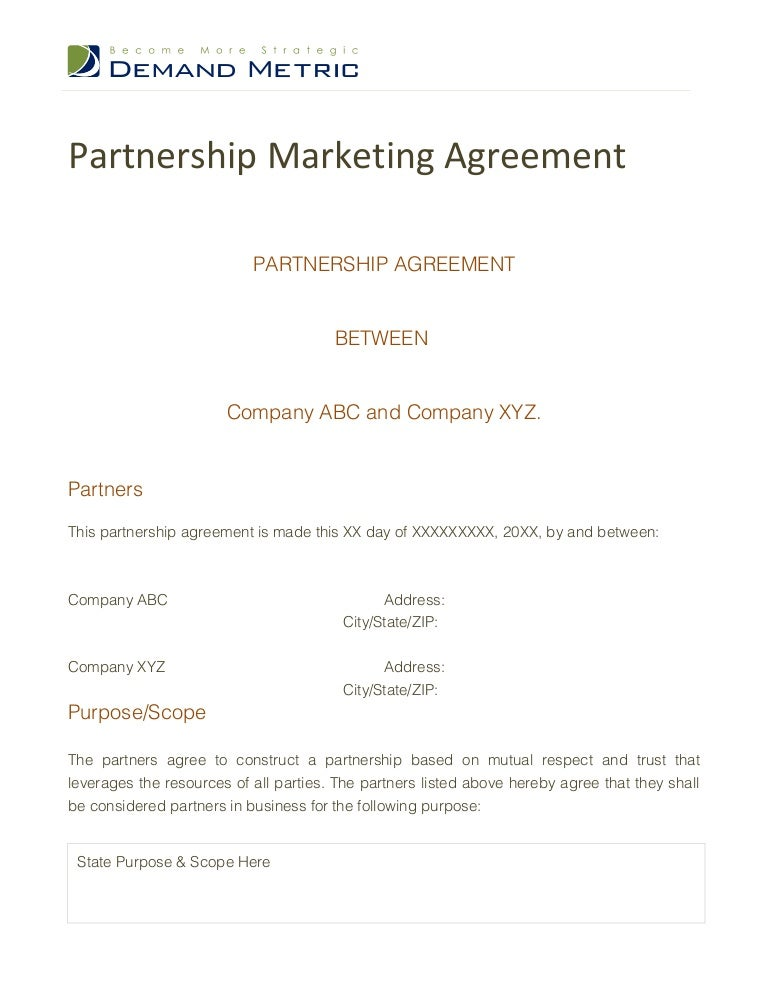 Business Partnership Contract Sample Free Partnership Agreement
