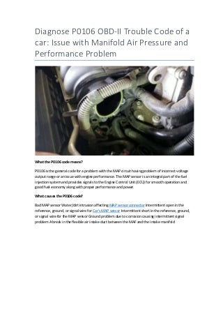 Partsavatar, Canada - Diagnose P0106 OBD-II Trouble Code of a car Issue with Manifold Air Pressure