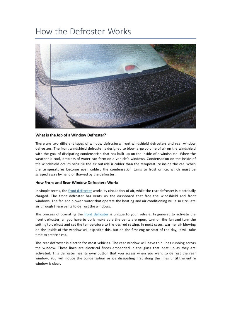 Partsavatar Autoparts How The Defroster Works