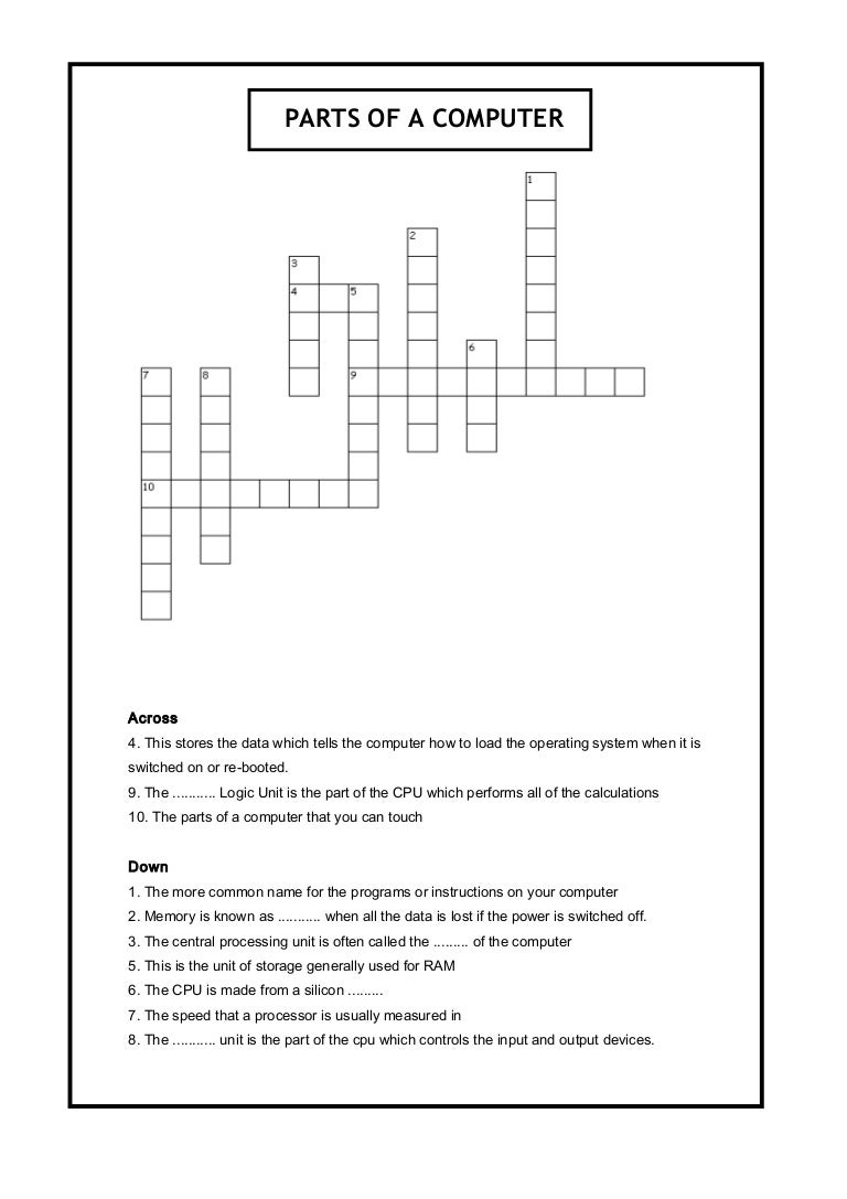 photo about Science Crossword Puzzles Printable known as Areas of a pc crossword: Laptop Science