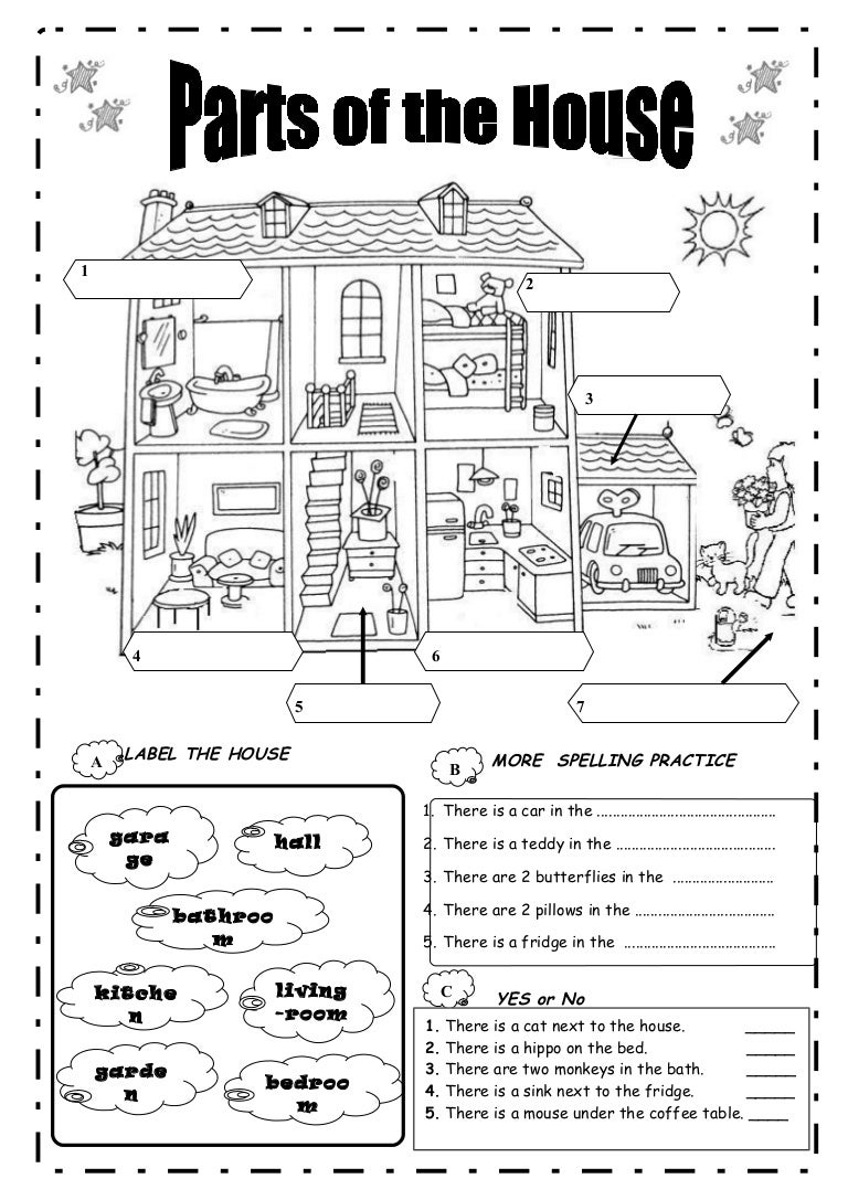 Printable Worksheets Home : Parts of a house