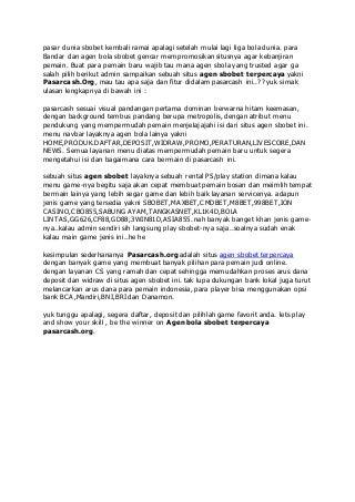 Pasarcash.org agen bola sbobet terpercaya di indonesia