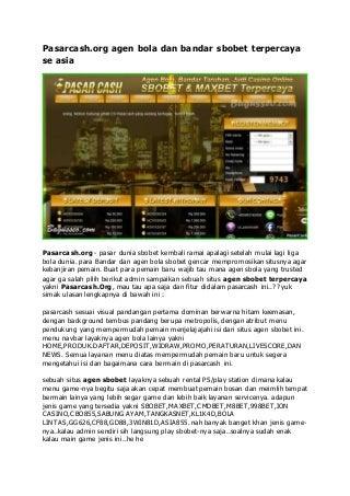 Pasarcash.org agen bola sbobet indonesia