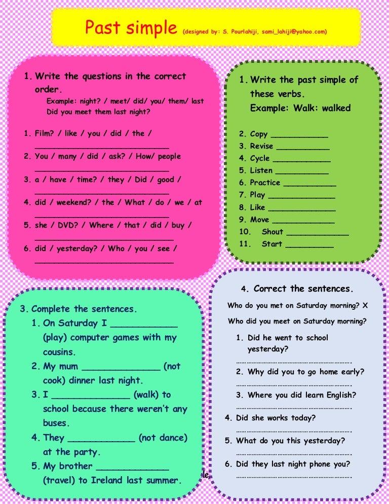 Past Simple Worksheet 105