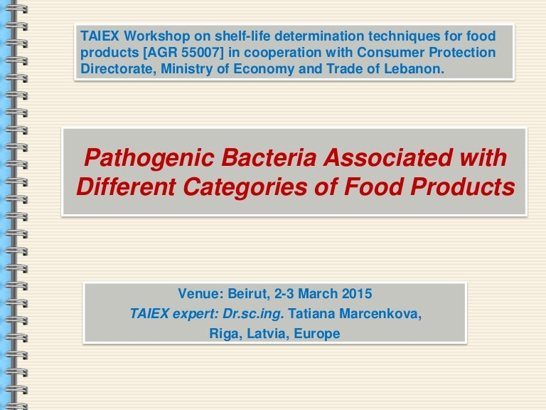Pathogenic bacteria associated with different categories of food