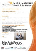 Pathway Professional - Level 5 Leadership in Health and Social Care courses