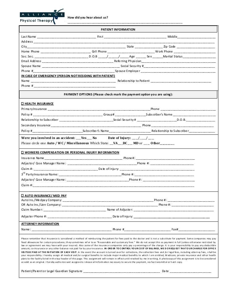 Patient Registration Form  Alliance Physical Therapy