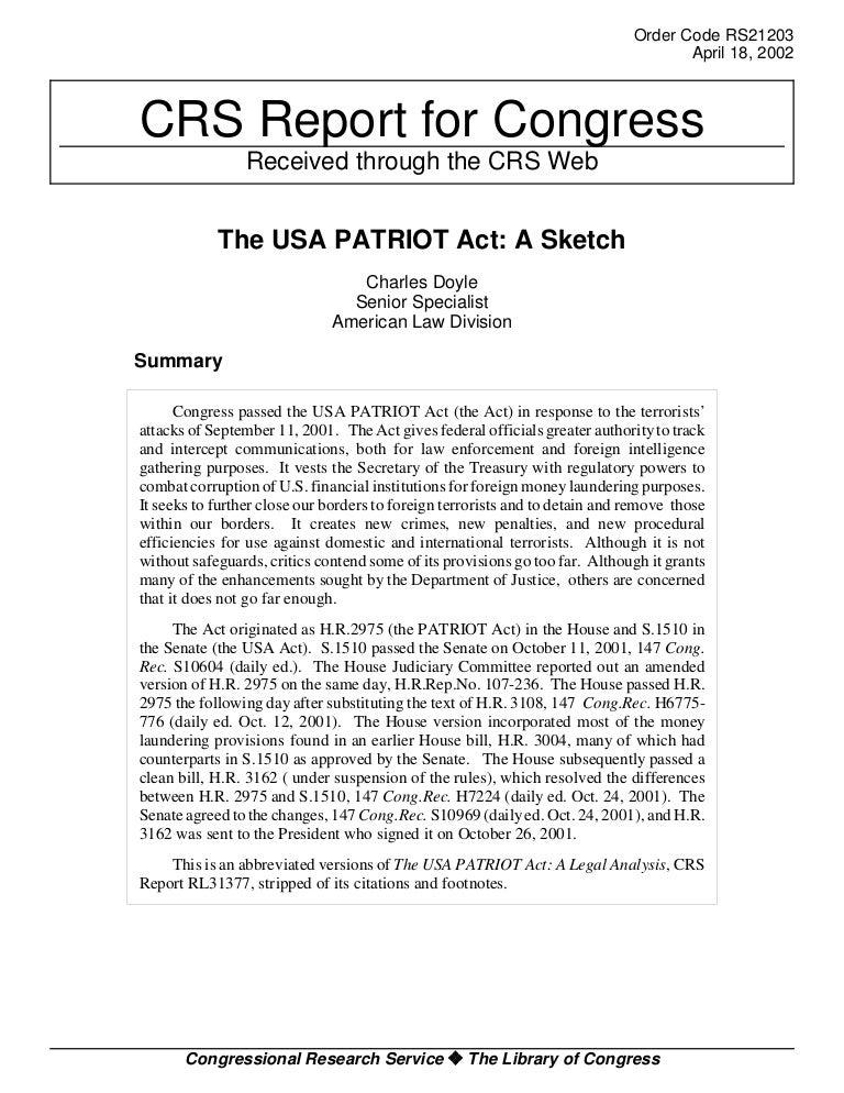 patriot act summary