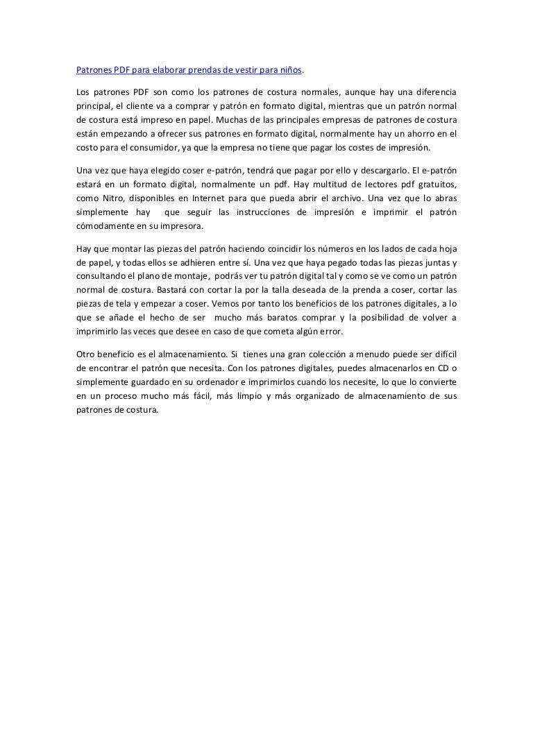 Patrones pdf de costura ventajas