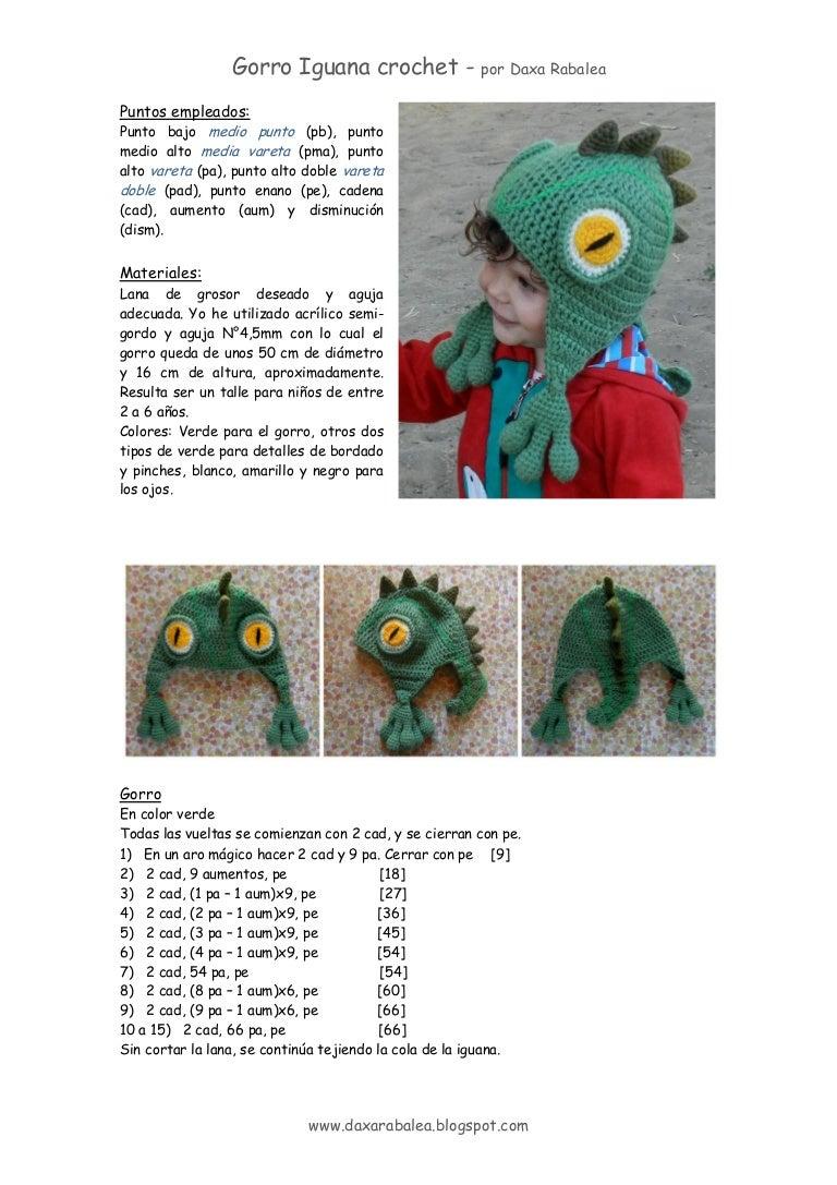 Tutorial gorro iguana crochet