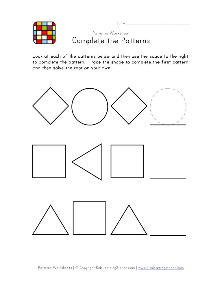 Patterns worksheet-1easybw