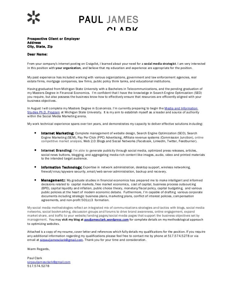 Paul clark social media cover letter for International student coordinator cover letter