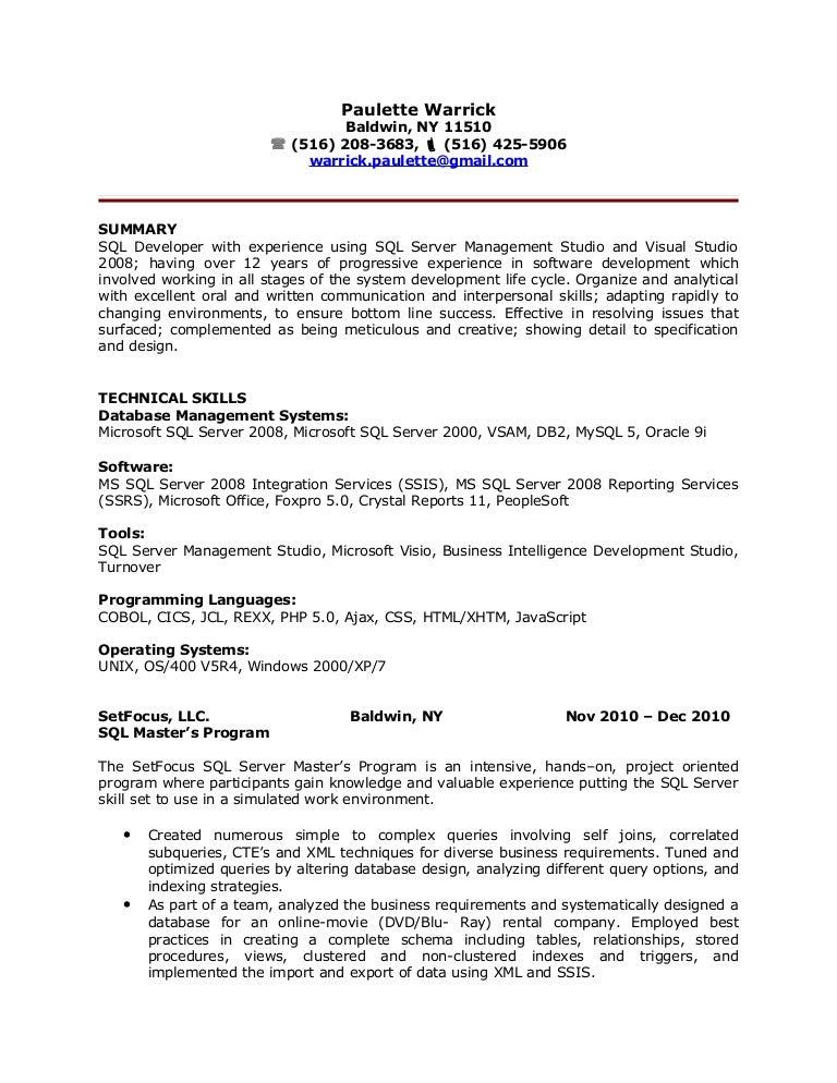 Sql Ssrs Report Developer Resume Vosvetenet – Sample Resume for Oracle Dba