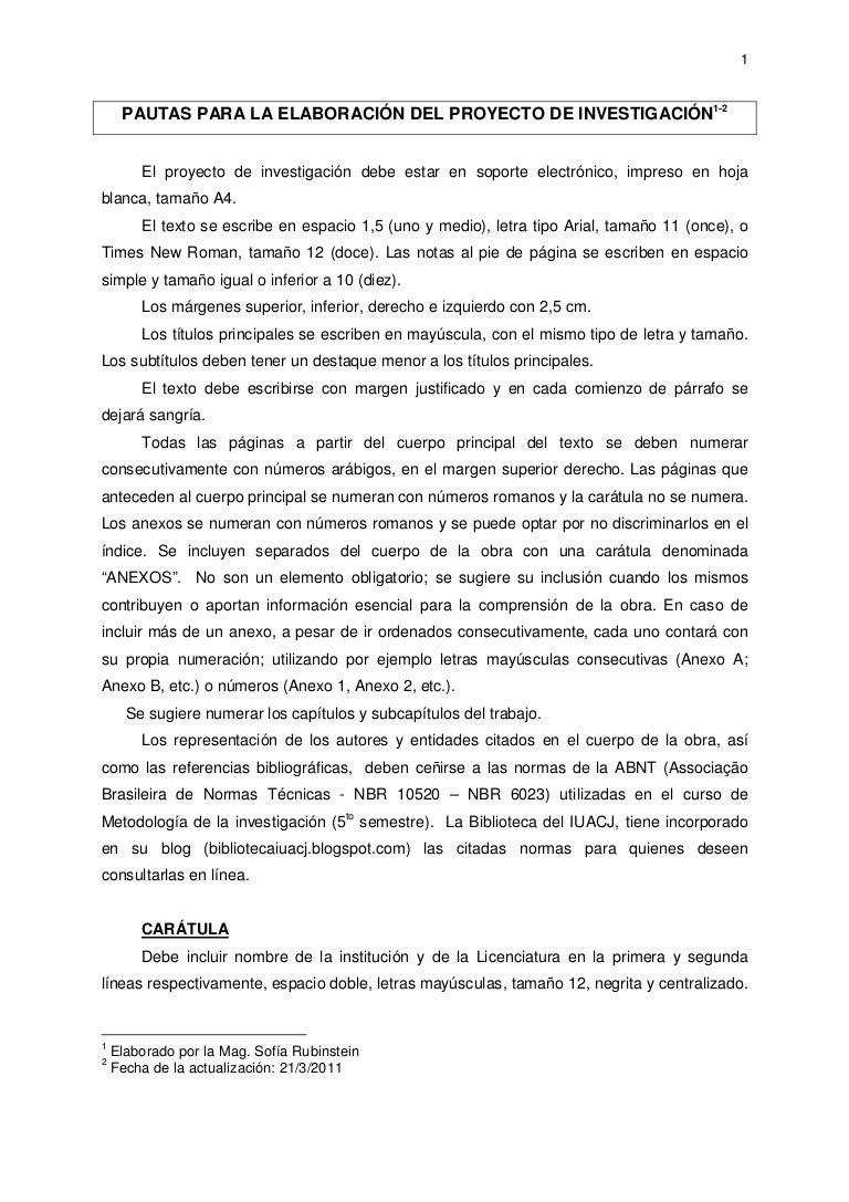 Pautas para la elaboración de proyectos de investigación 2011