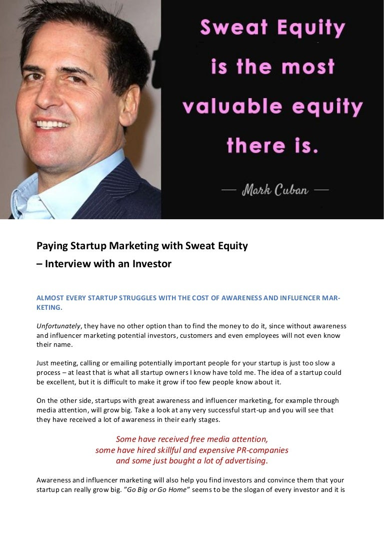 Paying Startup Marketing With Sweat Equity Interview With An Invest