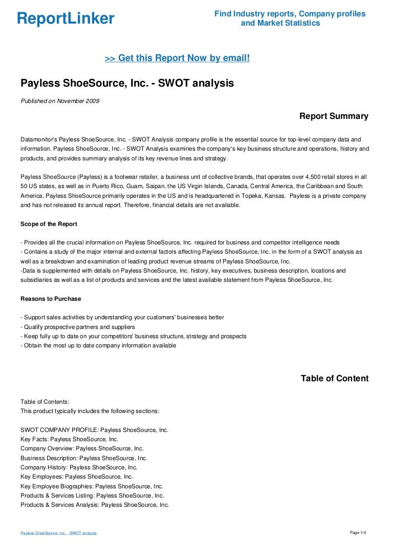 Payless ShoeSource, Inc. - SWOT analysis