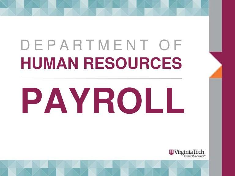 Virginia Tech New Employee Orientation Payroll