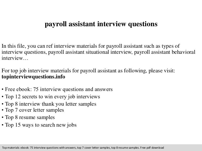 Payroll assistant resume – Payroll Clerk Job Description