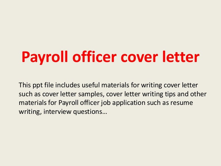 Payroll Cover Letter Sample