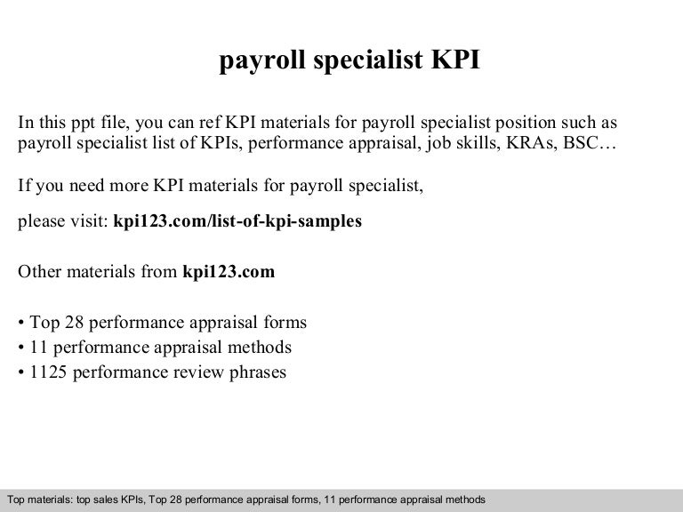 payroll specialist kpi. Resume Example. Resume CV Cover Letter