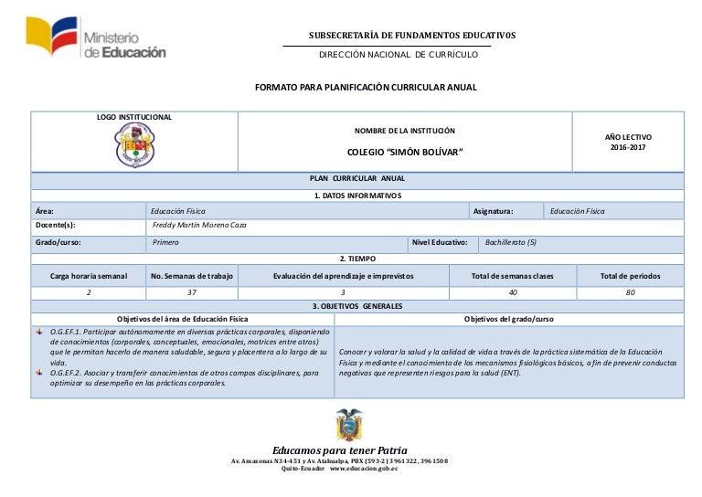 PCA.-Planificación Curricular Anual (2016-2017)