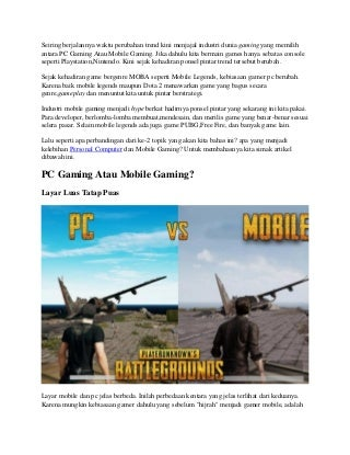 Pc gaming vs mobile gaming