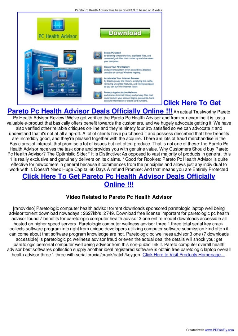 paretologic pc health advisor license key free download