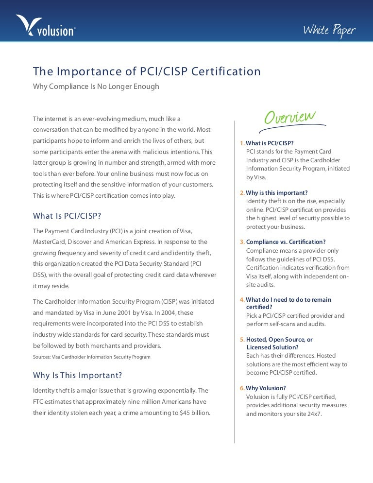 Online Security The Importance Of Pcicisp Certification