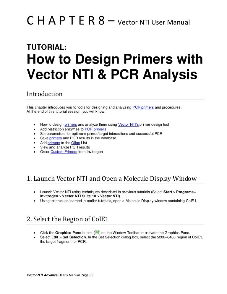 How To Design Primers With Vector Nti