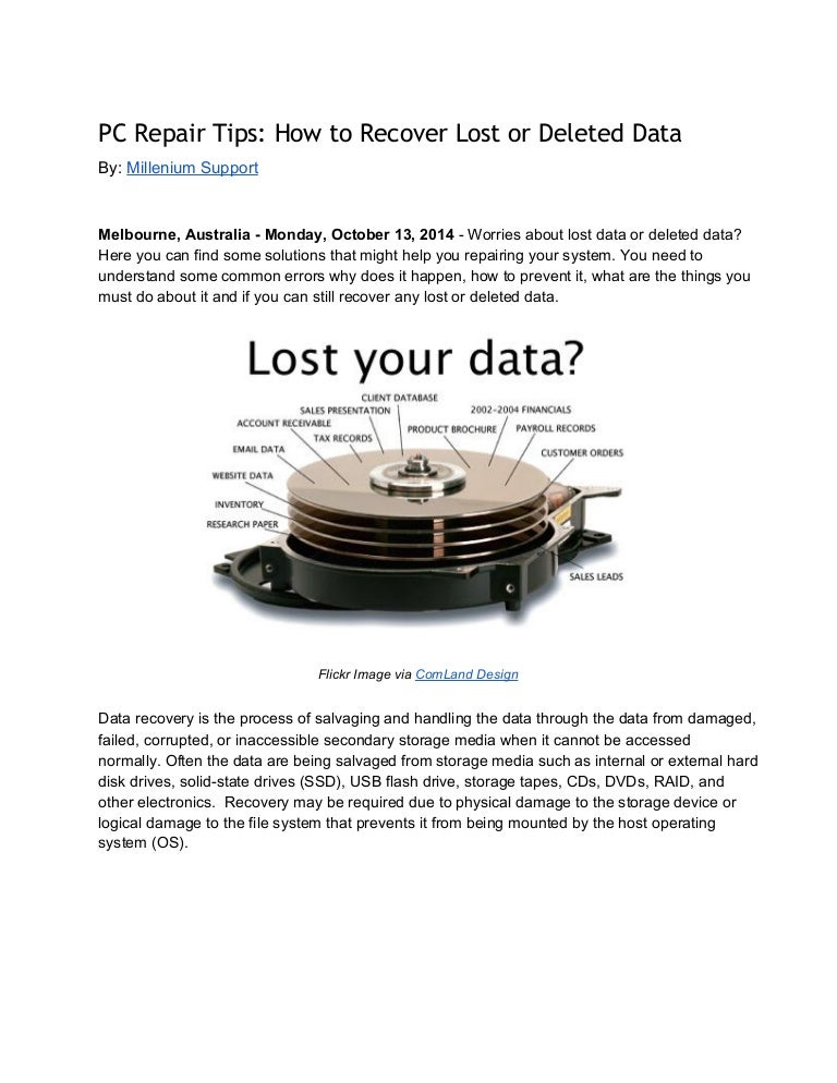 PC Repair Tips: How to Recover Lost or Deleted Data