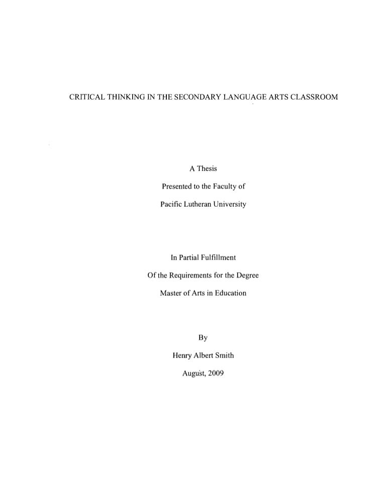 Thesis based on literature by hillis