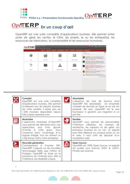 PcSol  brochure open-erp a destination des entreprises